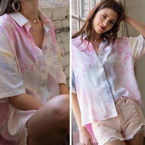 Cotton Candy Tye dye button front top
